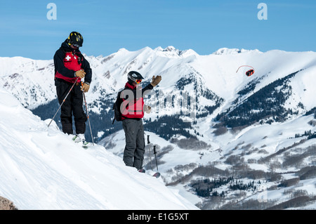 Male ski patroller working at the Crested Butte Ski Resort, Crested Butte, Colorado. - Stock Photo