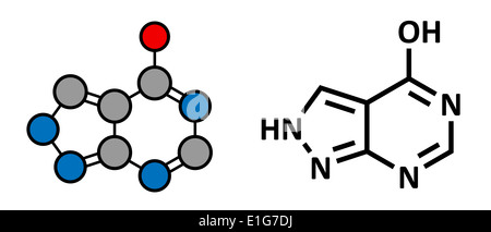 Allopurinol gout drug, chemical structure. Conventional skeletal formula and stylized representation. - Stock Photo