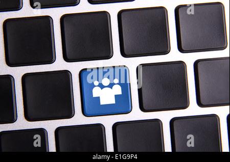Photo of social media key button on the black keyboard. - Stock Photo