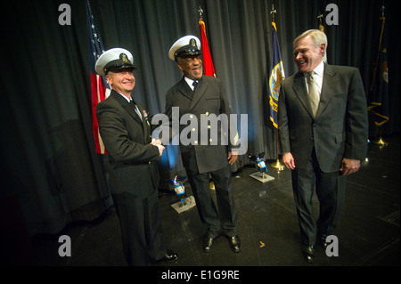 Master Chief Petty Officer of the Navy Rick West, left, and Secretary of the Navy Ray Mabus congratulate Honorary - Stock Photo