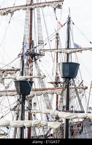 Crow's nests and rigging of a tall ship docked at Matanzas Bay in St. Augustine, Florida, USA. - Stock Photo