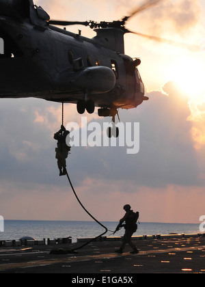 U.S. Marines assigned to the 13th Marine Expeditionary Unit (MEU) drop from a CH-46 Sea Knight helicopter assigned - Stock Photo