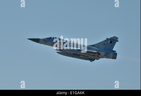 A Qatar Emiri Air Force Mirage 2000-5 fighter jet takes off March 25, 2011, from Souda Bay, Greece, on an Odyssey - Stock Photo