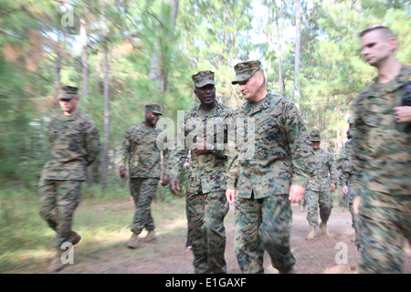 Sgt. Maj. Of the Marine Corps Carlton Kent, left, and Brig. Gen. Frederick Padilla, the commanding general of Marine - Stock Photo