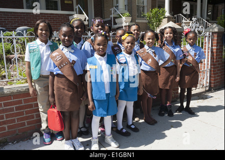Girl Scout troop poses for photo at The Kings County Memorial Day Parade in the Bay Ridge Section of Brooklyn, NY, - Stock Photo