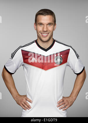 FIFA World Cup 2014 - photocall Team Germany, 24 May 2014 in Passeier, Italy: Lukas Podolski. Photo credit: Bongarts/Getty - Stock Photo