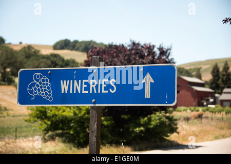 winery sign in vineyards in Wine Country near Paso Robles in Central California USA - Stock Photo