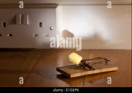 Old fashioned wooden baited mousetrap with yellow cheese crumb ready to catch a mouse on oak floor near electricity - Stock Photo