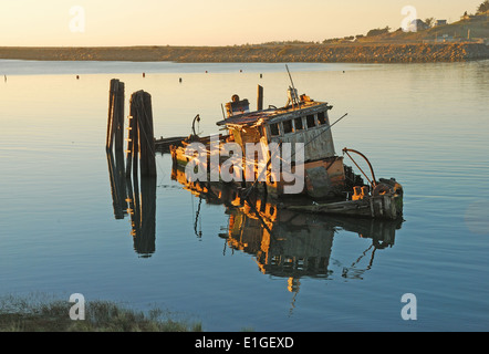Mary D. Hume lying in the still water's of the Rogue River Bay near Gold Beach OR. Boat originally built in 1881 - Stock Photo