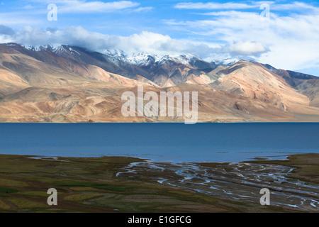 Amazing landscape in region of Tsomoriri, Rupshu, Changtang, Ladakh, Jammu and Kashmir, India - Stock Photo