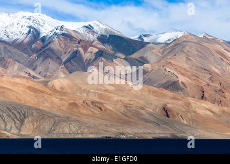 Mountain landscape in region of Tsomoriri, Rupshu, Changtang, Ladakh, Jammu and Kashmir, India - Stock Photo
