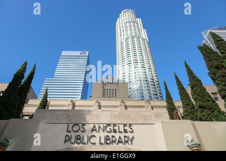 Los Angeles California CA L.A. Downtown city skyline Los Angeles Public Library Richard J. Riordan Central Library - Stock Photo