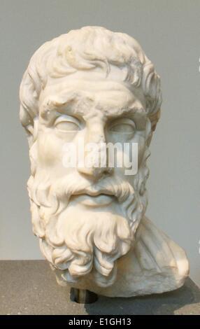 Marble head of Epikouros, Roman, Imperial period, 2nd half century A.D. - Stock Photo