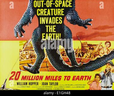 '20 million miles to earth' a 1957 American science fiction film starring William Hopper and Joan Taylor. - Stock Photo