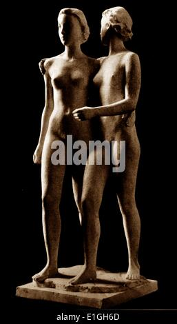 Richard Martin Werner (German sculptor, 1903 - 1949) 'The sisters' Plaster model for bronze casting, published in - Stock Photo