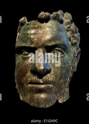 Fragmentary bronze portrait of the emperor Caracalla.  Roman, Severan, ca A.D. 212-217 - Stock Photo