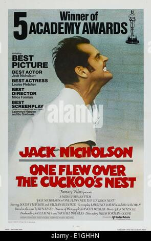 'One Flew Over The Cuckoo's Nest' starring Jack Nicholson a 1975 American drama film. - Stock Photo