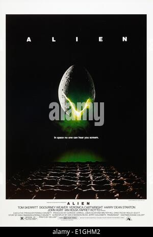 'Alien' a 1979 American science-fiction horror film starring Tom Skerritt and Sigourney Weaver. - Stock Photo