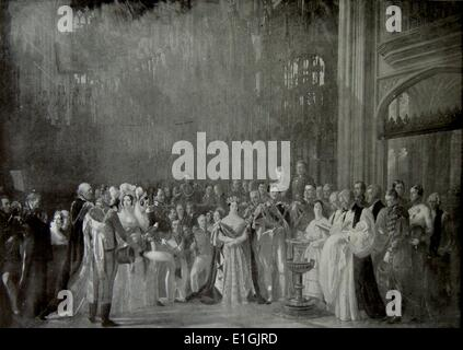 The christening of the Prince of Wales (later King Edward VII) at St Paul's cathedral 1840 - Stock Photo