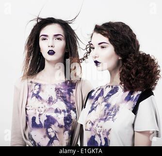 Individuality. Emo. Glamorous Modern Women. Trendy Brightly Makeup - Stock Photo