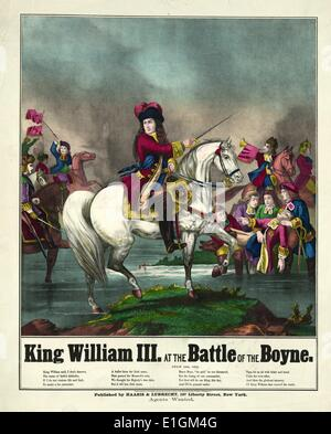 King William III at the battle of the Boyne on horseback leading troops into battle. 1874 illustration. The Battle - Stock Photo
