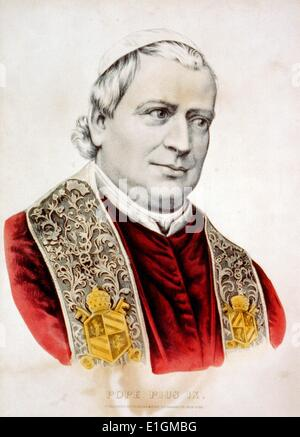 Hand-coloured lithograph created by Currier and Ives of his holiness Pope Pius IX. Dated 1870 - Stock Photo