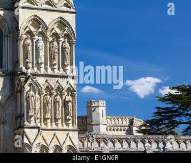 Early English Gothic style Salisbury Cathedral. Wiltshire England UK Europe - Stock Photo