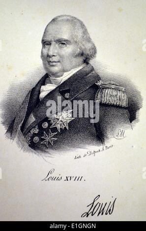 Louis XVIII (1755-1824) King of France 1795-1824, in exile until 1814.  Younger brother of Louis XVI. Lithograph, - Stock Photo