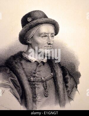 Louis XI (1423-1483) the Prudent, King of France 1416-1483.  Lithograph, Paris, c1840. - Stock Photo