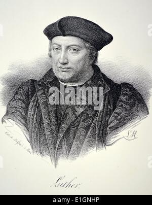 Martin Luther (1483-1546) German monk and theologian.  A leader of the Protestant Reformation. Lithograph, Paris, - Stock Photo