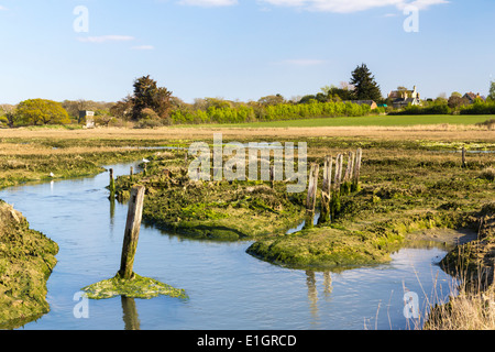 The Estuary at Newtown Harbour National Nature Reserve Isle Of Wight England - Stock Photo