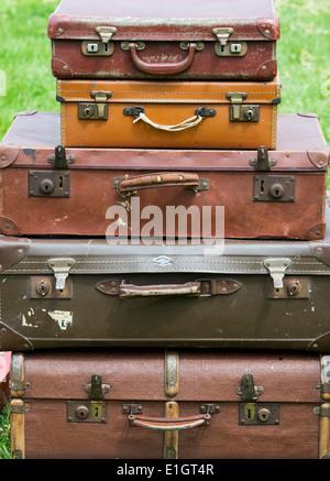 Retro vintage suitcases - Stock Photo