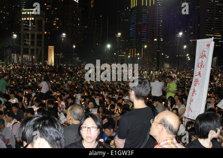 Hong Kong. 04th June, 2014.  Huge crowd gathers in Hong Kong's Victoria Park to mark the 25th anniversary of the - Stock Photo