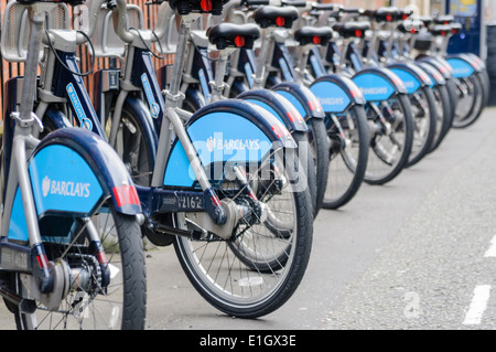 'Boris Bikes', bicycles for hire in London, sponsored by Barclays. - Stock Photo