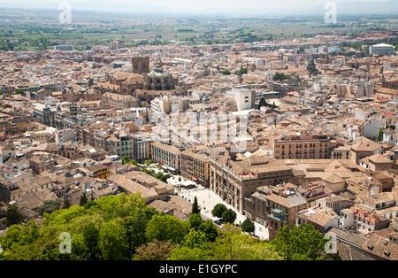 View of city centre and historic Moorish buildings in the Albaicin district of Granada, Spain seen from the Alhambra - Stock Photo
