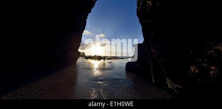 Spanien, Galicien, Praia As Catedrais, Playa de las Catedrales, Cathedral_s beach, rock arc, arcade, nature, natural, - Stock Photo