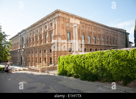 Alhambra Palace of Charles V Granada Andalusia Spain Stock Photo, Royalty Fre...