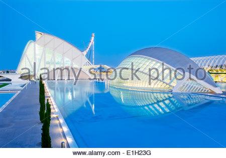 Dusk at City of Arts and Sciences, Valencia, Spain - Stock Photo