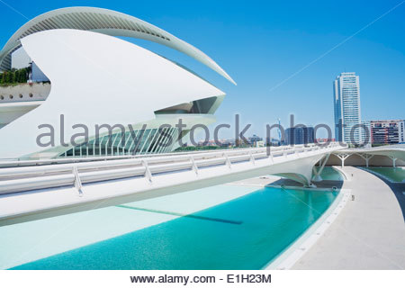 Walkway at City of Arts and Sciences, Valencia, Spain - Stock Photo