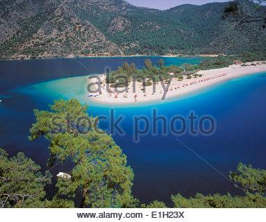 View of the Blue Lagoon, Oludeniz, Anatolia, Turkey - Stock Photo