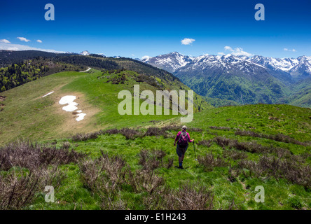 Female walker in red top, Plateau de Beille, French Pyrenees, distant snowy mountains, blue skies, summer, - Stock Photo