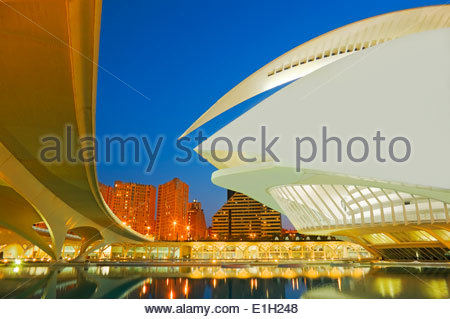 City of Arts and Sciences at night, Valencia, Spain - Stock Photo