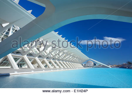 Architectural detail of City of Arts and Sciences, Valencia, Spain - Stock Photo