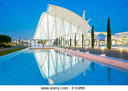 View of City of Arts and Sciences at dusk, Valencia, Spain - Stock Photo