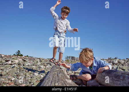 Two boys playing on driftwood on beach - Stock Photo