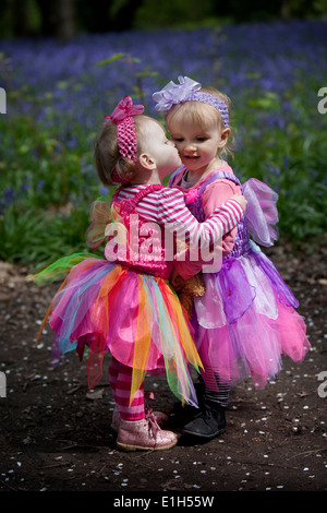 Two little girls in pink fairy dresses playing in an English woodland in Spring. - Stock Photo