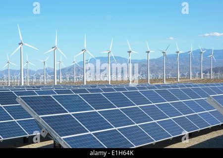 Photovoltaic solar panels and wind turbines, San Gorgonio Pass Wind Farm, Palm Springs, California, USA - Stock Photo