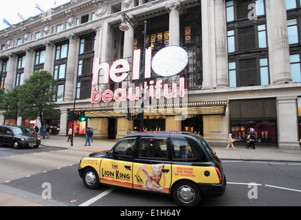 UK, England, London, Selfridges Store, taxis, Oxford Street, - Stock Photo
