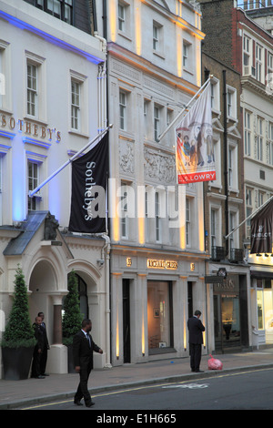 UK, England, London, New Bond Street, Sotheby's, luxury shops, - Stock Photo