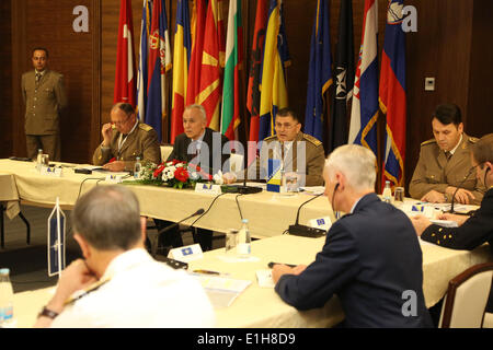 Sarajevo, Bosnia and Herzegovina. 4th June, 2014. Military officers attend the meeting at the 8th Balkan Countries - Stock Photo